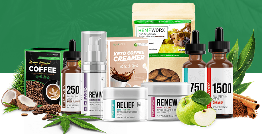 An image of hempworx CBD oil products