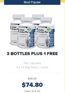 An image of four bottles of colon detox plus on offer