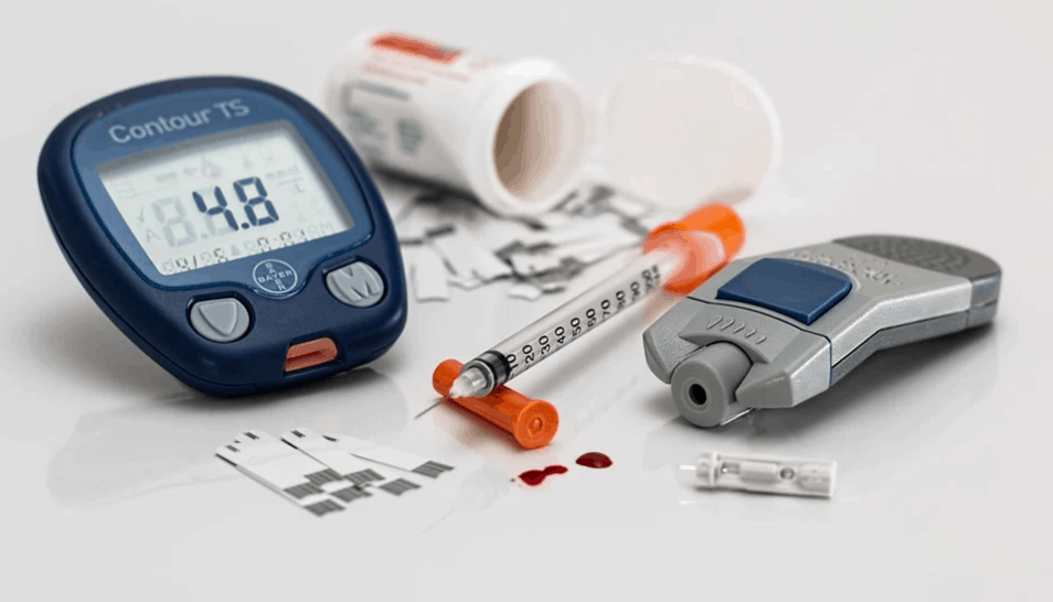 an image of cbd oil and diabetes blood sugar test kit