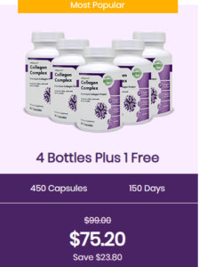 An image of five bottles of vitapost collagen complex