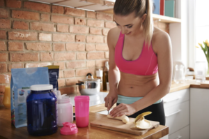 An image of a lady preparing stamina supplement